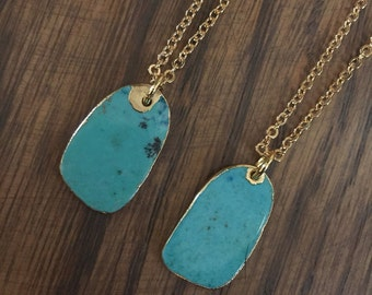 Turquoise Charm on Gold Plated Chain