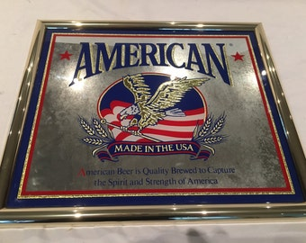 American Beer Mirror Sign - 13 1/2 inches X 11 1/2 inches