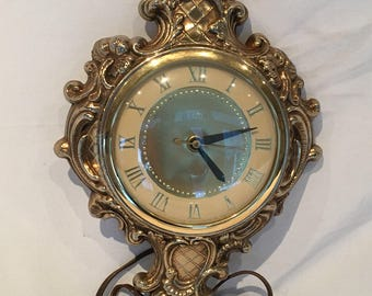 Vintage 1960s United Model 84 Ornate Gold Tone Metal Electric Wall Clock