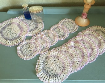 Vintage crocheted doilies lilac and white 1950s coasters