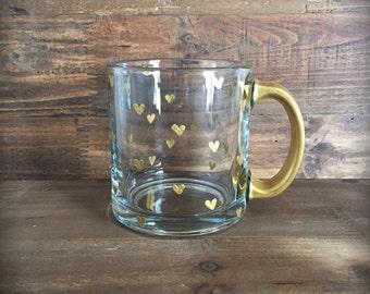 Hand painted gold hearts coffee or tea mug
