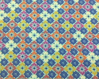 Retro cotton fabric, turquoise, 7219