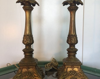 REDUCED!!!! Pair of Palm Beach Regency Vintage Loevsky & Loevsky Fancy Gold Tablelamps- home decor- bedside lamp- lamps- desk lamp