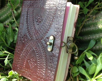 Leather Journal - Handmade Notebook - Rustic Journal - Embossed Journal -  Leather Travel Book - Leather Sketchbook - Bronze Lock Journal