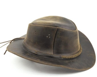 Brown Leather Safari Hat (Various Sizes Available)