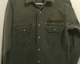 Men's small HARLEY DAVIDSON button down, stiff grey chambray look cotton