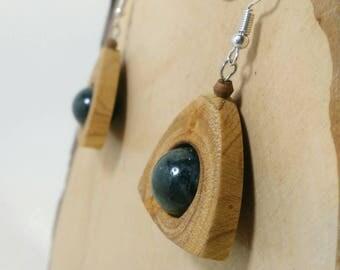 Wood and moss agate earrings, wooden earrings, gemstones jewels, handmade earrings