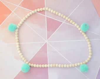 Stone Bead and POM Necklace