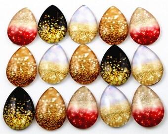 10pcs X Lot  18x25mm Mixed Handmade Photo Glass Drop Style Cabochons