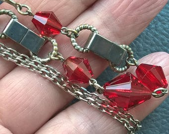 Antique ART DECO Necklace Very Bright Red Bohemian Crystals