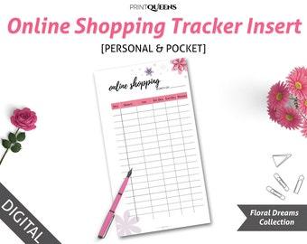 Shopping Tracker, Shopping List, Online Shopping Tracker, Shipping Tracker, Order Tracker, Personal Planner Insert, Pocket Planner Insert