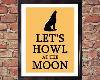 Howl, Moon, Halloween, Halloween decor, Dog print, Halloween prints, Halloween Art, Wolf, Wolves, Halloween download, Halloween printable