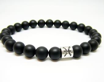 Zodiac bracelet pisces bracelet for men gift for him Black bracelet Astrology bracelet Horoscope jewelry Black onyx bracelet for boyfriend