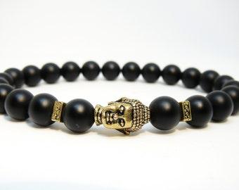 Buddha bracelet for men gift for him Black bracelet Buddah bracelet Black onyx bracelet gift Yoga jewelry Yoga gift for mens beaded bracelet