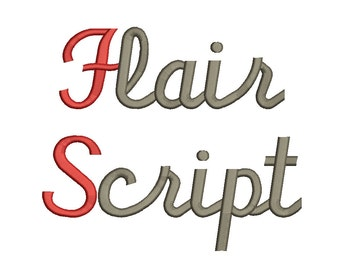 3 Size Flair Script Font Embroidery Fonts BX  9 Formats Embroidery Pattern Machine BX Embroidery Fonts PES