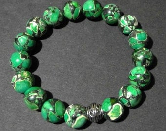Jasper Leopard Green Crystal Beaded Bracelet (0526)