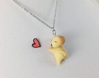 Cute Dog Necklace // Polymer Clay Charm // Golden Retriever Kawaii Jewelry // Gift for Her // Dog Lover Gift