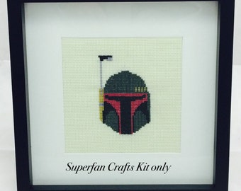 boba fett cross stitch kit, Star Wars cross stitch kit, cross stitch kit for beginners, boba fett chart, geek cross stitch kit, craft gift