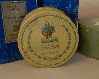 Antique face powder box Potter & Moore's Mitcham Lavender Face Powder  unopened vintage cosmetics