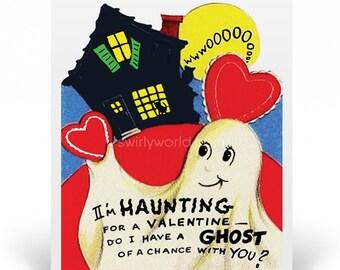 Vintage 1950s Style Ghost Valentine's Day Cards, Retro Valentine Cards,  1950s Vintage Valentine Cards, Printed Vintage Valentines VAL145