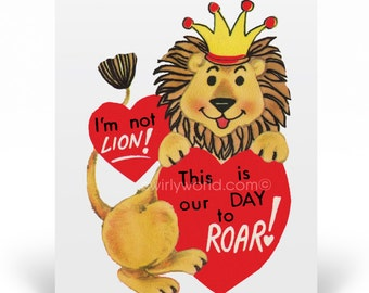 Vintage 1950s Style Valentine's Day Cards, 1950s Vintage Lion Valentine Cards, Printed Vintage 1950s Style Valentine Cards, VAL156