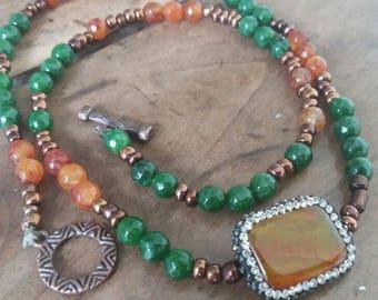 Multi turn cuff with semiprecious stones