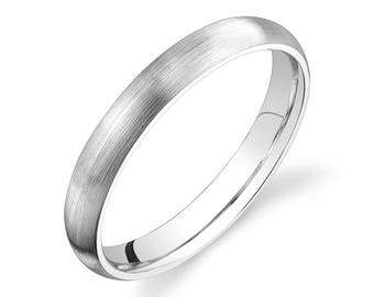 14k White Gold Band (3mm) / PLAIN / Matte Brushed Rounded Dome + Comfort Fit / Men's Women's Wedding Ring Thin