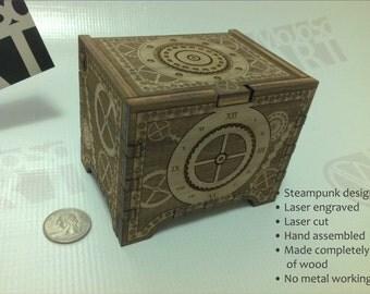 Steampunk Custom Engraved Wood Box