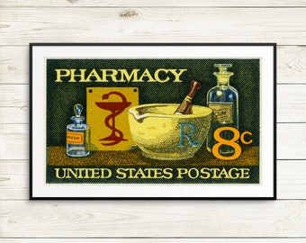 Pharmacy, Pharmacist, pharmacist gifts, vintage pharmacy, pharmacy posters, pharmacy art, pharmacy ads, pharmacy student, vintage posters