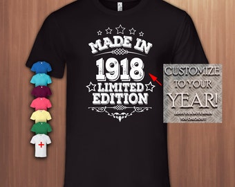 Made in 1918,100th Birthday Gift T shirt ,100th Bday T-shirt,100 Birthday Tshirt for Woman,100 Birthday Tshirt for Men,Tee