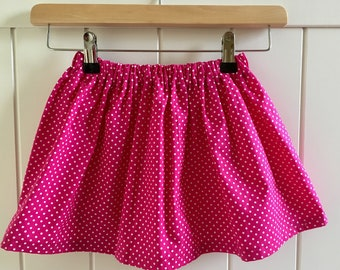 Pink & White Polka Dot Twirly Skirt