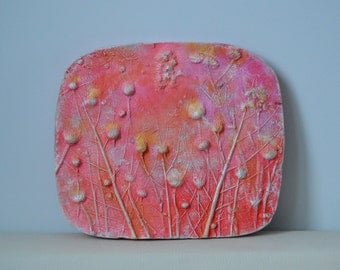 Botanical pendant, leaf tile, big wall art, gifts for Home, gardener gifts, leaf plaster cast, botanical cast,
