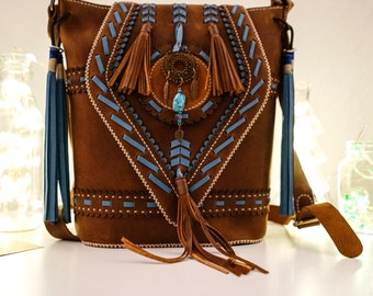 Linh Boho Crossbody Tasche| Boho Leder Tasche | Boho Shoulder Bag| Boho Leather CrossBag| Bohomian Leather Bag| Unique Boho Bag