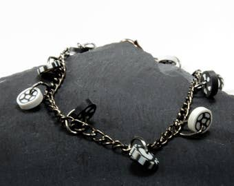 Black and white bracelet, cool boho gift, monochome dangle bracelet, boho chic bracelet, polymer clay caning, fimo jewellery, gift for her