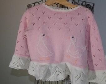 Lauren pink Merino Wool with a duck motif