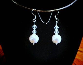 Swarovski Crystal Pearl Sterling Silver Earrings.