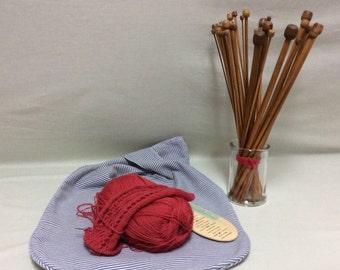 Reversible Japanese knot style bag. Knitting bag, crocheters bag, sewing bag, market bag.