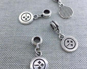 2PC Pittsburgh Steelers Dangle charm fit european bracelet /pandora bracelet Steeler Charm Pittsburgh Steeler accessory
