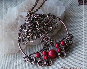 Red coral tree of life pendant necklace Copper wire wrapped  gift for her copper tree of life coral necklace handmade jewelry