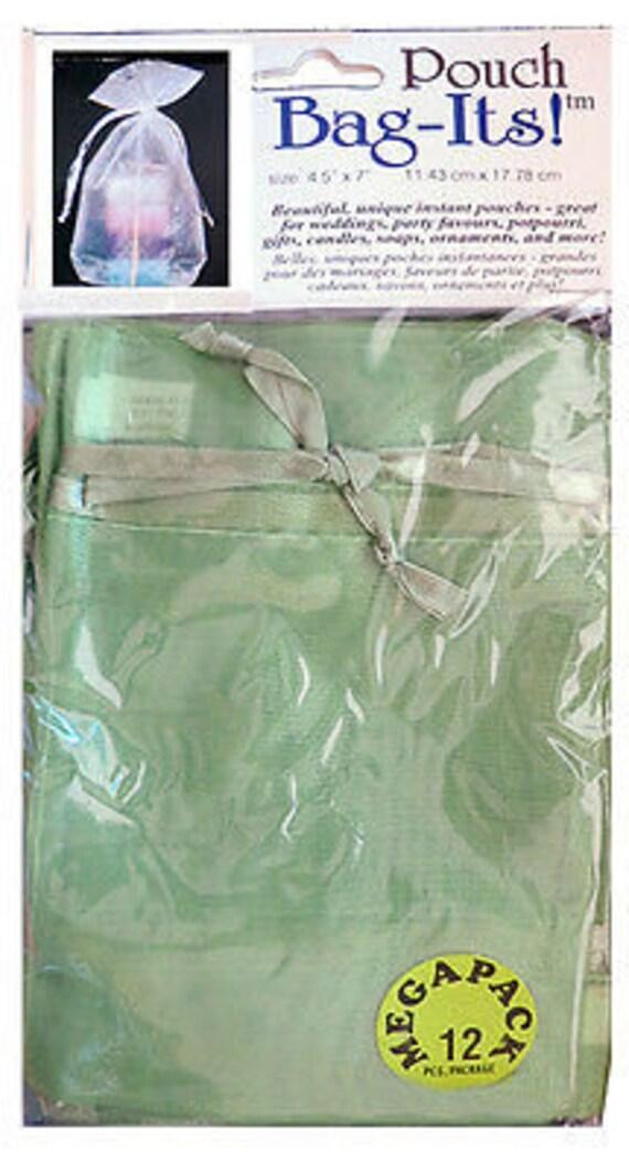 "Sheer Organza Bag-its, 12 pcs 4 1/2"" x 7"", Olive  **FREE U.S. SHIPPING**"