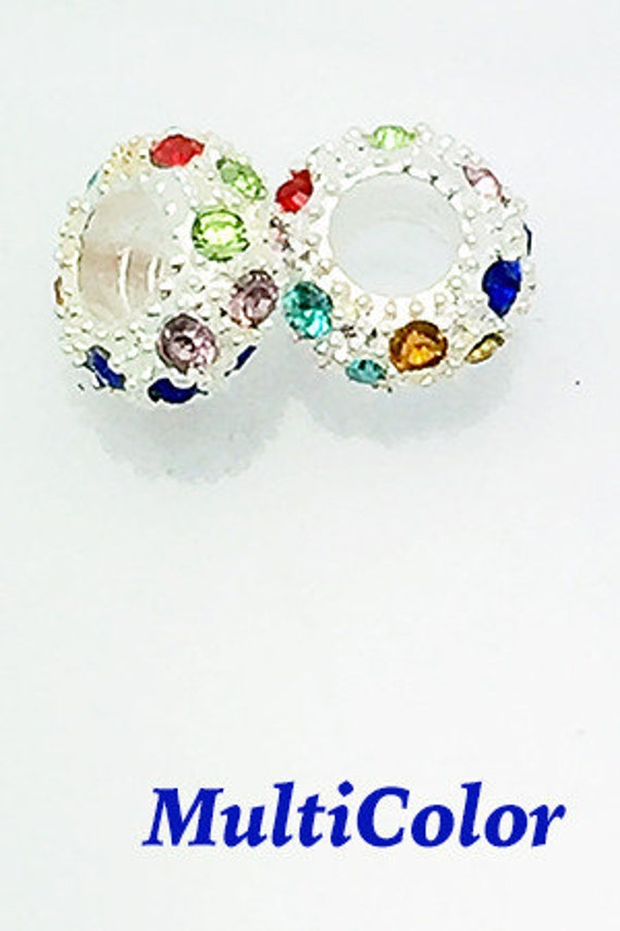 RhinestoneBEADS, Pave Crystal, Silver Plated, Multi, 4 pcs   ** **FREE Shipping-Order 10+**