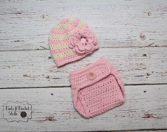 Newborn crochet outfit, newborn girl crochet outfit, newborn girl outfit, newborn girl hat, newborn girl crochet hat, crochet diaper cover