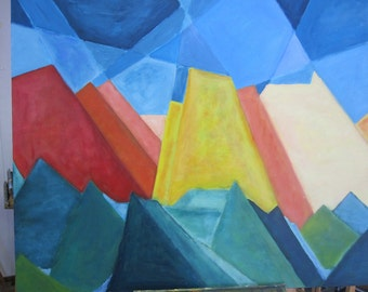 Mountains in Austria, abstract, colorful painting of acrylic paint, 100 x 120 cm format.