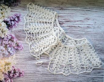 Crochet Collar, Handmade Crochet Collar, Neck Accessory, Snow White, 100% Cotton, collar, crochet cuffs, crochet lace, lace cuffs