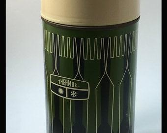 Vintage Green Thermos, Picnicware, Retro, Mid-Century