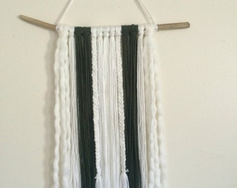 Green and White Bohemian Fringe Wall Hanging