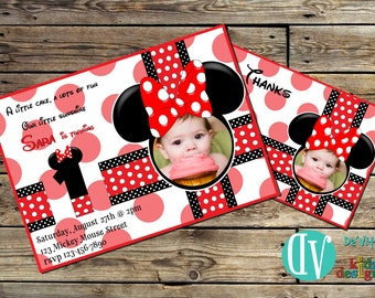 Minnie Mouse Birthday Invitation with Picture GIRLS Birthday Party Printable -  5x7 or 4x6 and FREE Thank You Card Printable 5x3.5