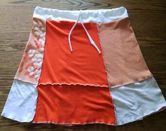 Large Women's Upcycled T-shirt Skirt Orange Peach White Flowers Boho Beach Clothing