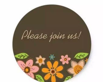 "24 PCS ""Please Join Us"" Sticker, Seals, Scrapbook Supplies, Stationary, Paper, Paper Stickers, Stickers, Paper Supplies, Party Supply"