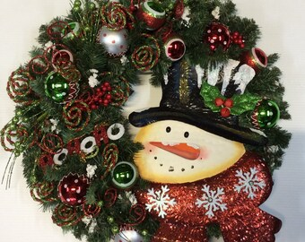 Tin Snowman Wreath